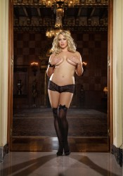 Kiev, Plus Size Opaque Thigh High With Satin Bow