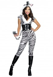 Sexy Striped Zebralicious Jumpsuit Costume