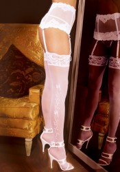 Wedding Bells Sheer Thigh-High Stockings With Lace Top