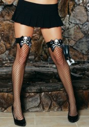 Industrial Net Thigh High With Satin Bow and Skull Applique