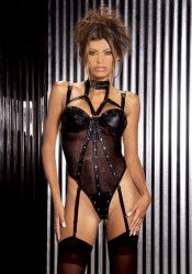 Leather And Fishnet Underwire Teddy With Thong Back, Detachable Garters