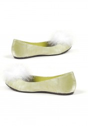 Women's Satin Flat With Marabou Feathers At Toe