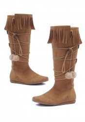 Women's 1 Inch Heel Boot With Fringe And Poms