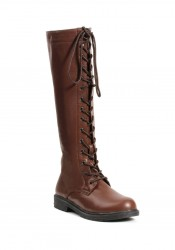 1 Inch Knee High Lace Up Boot With Inside Zipper.