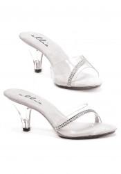 3 Inch Heel Clear Mule Women'S Size Shoe With Rhinestones