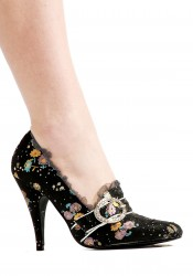 4.5 Inch Decorative Fabric Pump Women'S Size Shoe With Rhinestones And Buckle Detail