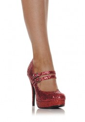 4 Inch Mary Jane Women'S Size Shoe With Double Strap And Glitter