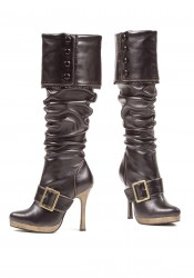 Women's 4 Inch Heel Buckled Knee Boot With Buttoned Foldover And Ruffle Trim