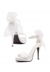 4.5 Inch Bride Sandal Women'S Size Shoe With Ankle Strap And Veil On Back Of Shoe