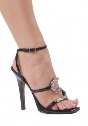 5 Inch Heel Strap Sandal Women'S Size Shoe With Snake Decor