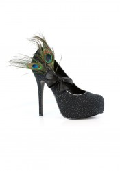 5 Inch Heel With Sparkles and Peacock Feather