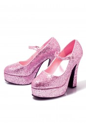 5 Inch Chunky Heel Mary Jane Women'S Size Shoe With Glitter