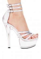 6 Inch Heel Strappy Sandal Women'S Size Shoe With Closed Heel And Triple Ankle Strap