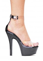 Women's 6 Inch Stiletto Heel Platform Sandal With Closed Heel And Ankle Strap