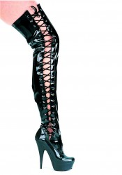 Women's 6 Inch Pointed Stiletto Thigh High Stretch Boots With Side Laces