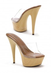 6 Inch Pointed Stiletto Mule With Wood Bottom Women'S Size Shoe