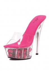 6 Inch Pointed Stiletto Sandal Women'S Size Shoe With Roses In Bottom