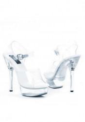 Women's 6 Inch Silver Metallic Heel Sandal With Clear Straps And Rhinestone Heel