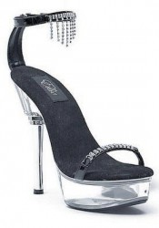 Women's 6 Inch Rhinestone Heel Sandal With Closed Heel And Rhinestone Charms On Ankle Strap
