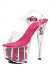 Women's 7 Inch Pointed Stiletto Sandal With Ankle Strap And Flowers In Platform