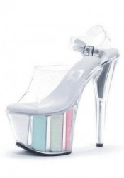 Women's 7 Inch Pointed Stiletto Sandal With Ankle Strap And Glitter In Platform