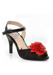 3-1/2 Inch Heel Satin Sandal With Pu Flower