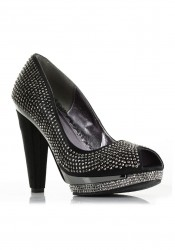 4 Inch Heel 1 Inch Platform Rhinestone Covered Peep-Toe Pump