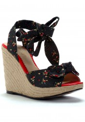 4 Inch Wedge W/Strawberry Polka Dot Fabric And Tie