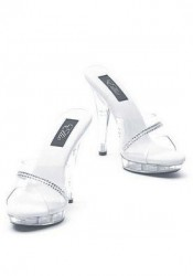 5 Inch Clear Sandal Women'S Size Shoe With Rhinestones