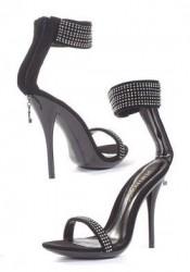 4.5 Inch Heel Lamy Sandal Women'S Size Shoe With 1/2 Inch Platform And Rhinestones
