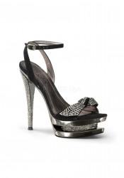 6 Inch Stiletto Heel, 1 1/2 Inch Dual Platform Wrap Ankle Strap Sandal