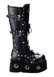 Men'S 4 Inch Platform Buckled Knee Boot With Rivet Trim