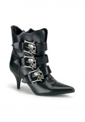 Women's 2 3/4 Inch Heel Ankle Boot With Dirty Silver Buckles
