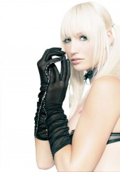 Sheer Ruched Elbow Length Gloves