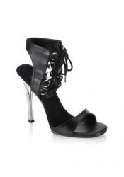 4 1/2 Inch Stiletto Heel Ankle Lace-Up Mini-Platform Sandal