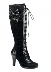 Women's 3 3/4 Inch Heel Lolita Lace-Up Knee Boot With Lace Overlay