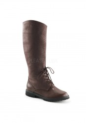 1 1/2 Inch Flat Heel Men's Oxford Style Pull-On Knee High Boot