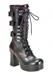 Women's 3 3/4 Inch Heel Lace-Up Front Calf Boot With Rear Buckles