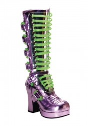 Women's 3 3/4 Inch Heel Buckled Ultraviolet Platform Boot