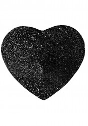 Self Adhesive Black Heart Glitter Pasties