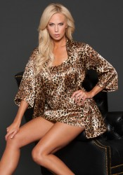 Animal Print Satin Chemise.