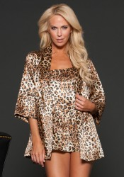 Animal Print Satin Robe