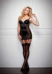 Metallic Lace Overlay Chemise And G-String