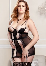 Mesh, Microfiber And Scallop Lace Chemise With Molded Underwire Cups