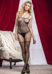 Fishnet And Lace Crotchless Bodystocking With Thigh High Stockings