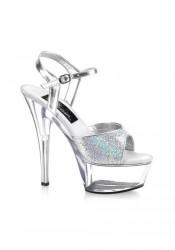 6 Inch Spike Heel Platform Sandal With Silver Glitter