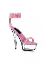 6 Inch Stiletto Heel Ankle Cuff Platform Sandal With Rhinestone