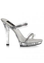 5 Inch Stiletto Heel Two-Band Platform Slide With Rhinestone
