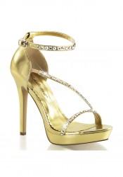 4 3/4 Inch Heel, 1 Inch Platform Closed Back Ankle Strap Sandal