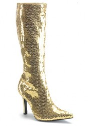 Sequined Knee-High Boot With 3 1/4 Inch Heel